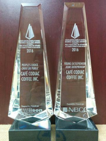 Café Codiac is this year's Greater Moncton Chamber of Commerce People Choice Award as well as Young Entrepreneur for 2016